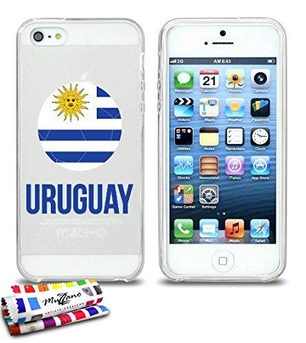 Ultraflache weiche Schutzhülle APPLE IPHONE 5S / IPHONE SE [Fußball Uruguay] [Lila] von MUZZANO + STIFT und MICROFASERTUCH MUZZANO® GRATIS - Das ULTIMATIVE, ELEGANTE UND LANGLEBIGE Schutz-Case für Ihr Durchsichtig