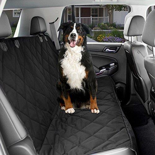 KOPEKS Hund Auto Sitzbezug-Schwarz Wasserdicht rutschfeste gepolstert gesteppt Displayschutzfolie mit Sitz Verankert und Wärme Halteband (Hunde Sitzbezüge Eimer Für)