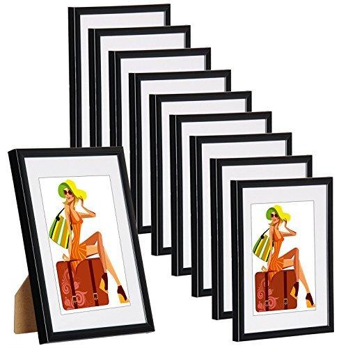 er Set Bilderrahmen Bildergalerie Fotogalerie mit Passepartout, Foto Collage Galerie, aus Kunststoff, Echtglas, Schwarz, 10x15 cm ()