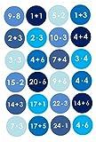 24 Autocollants avec numéro pour Calendrier de l'Avent Mathématique - Bleu Nr 9 - Autocollants - pour créer ou décorer...
