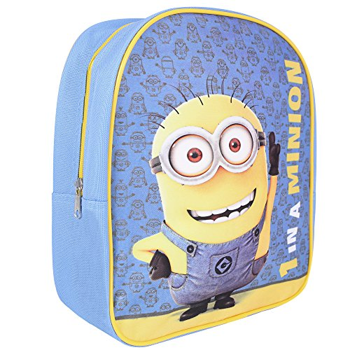 (Kinder Rucksack für Jungen Ich Einfach unverbesserlich - Schulranzen mit Bob Minions - Schulrucksack für Schule und Kindergarten mit Verstellbaren Schulterriemen - Perletti 28,5x23x7,5 cm)