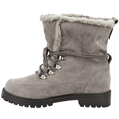 Neu Damen Faux Nur Profilsohle Schnürer Winter Stiefeletten Armee Schuh Größe Grau Kunstwildleder