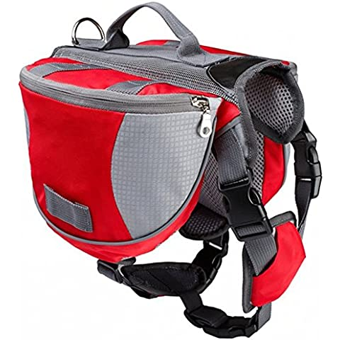 Borsa per Cane Stesso All'aperto, Badalink Pet Bag Travel Outdoor Zainetto Walking Jogging Sacchetto (Rosso) (M)