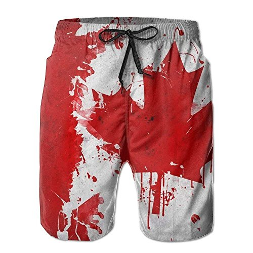 Man Summer Canada Canadian Flag Art Quick Dry No Mesh Lining Surf Beach Board Shorts X (Die Boards-of-canada)