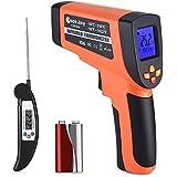 Thermomètre Infrarouge -50°C à 550°C, avec Ecran LCD Rétroéclairé, Thermomètre Laser Sans Contact, avec Thermographe Numérique Alimentaire, Garantie 2 Ans, Jaune