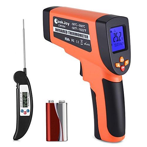 Laser Infrarot Thermometer mit Küchenthermometer Faltbar, Dual Laser Temperaturmessgerät Berührungslos mit CookJoy Fleischthermometer, IR Pyrometer -50°C bis +550°C Temperaturmesser LCD Beleuchtung