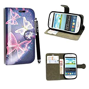STYLEYOURMOBILE SAMSUNG GALAXY S3 S III MINI I8190 PREMIUM QUALITY PU LEATHER MAGNETIC FLIP CASE SKIN COVER POUCH + SCREEN PROTECTOR + FREE STYLUS (Ultra Butterfly Blue Book Flip)
