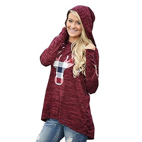 Damen Pullover Weihnachten Elch Wein Rot Bekleidung Loveso Herbst Winter Warm Frauen Sweatshirt Christmas Elk Streetwear (34 (S), Wein Rot)