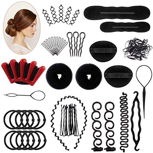 25 PCS Haar Styling Design Zubehör styling Set, Haar Modellierung Tool Kit Magic Haar Clip Haarknoten Maker Braid Werkzeug für Mädchen Frauen Mode Haar Design DIY - Set Haar-clip,