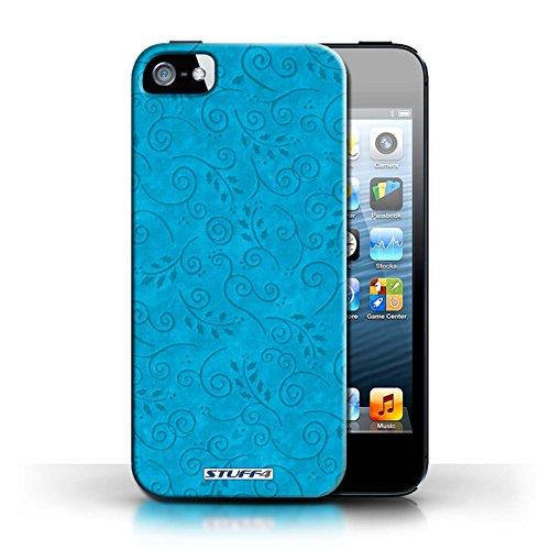 KOBALT® Hülle Case für Apple iPhone 5/5S | Grün Entwurf | Blatt-Strudel-Muster Kollektion Türkis