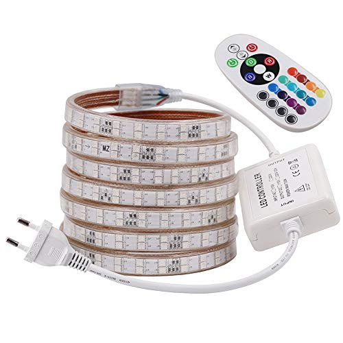 XUNATA 25M LED Streifen Strip,AC 220V 230V IP65 Wasserdicht RGB SMD 5050 120leds/m Super Bright Lichtband mit 24 Tasten IR-Fernbedienung für Bar Decke Counter Cabinet Weihnachten Party Deko (25M)