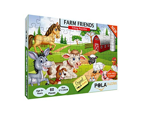 Pola Puzzles Farm Friends 60 Pieces Tiling Puzzles (Jigsaw Puzzles, Puzzles for Kids, Floor Puzzles), Puzzles for Kids Age 5 Years and Above. Size: 37 cm X 24 cm