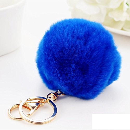 Kingwin cute in pelliccia sintetica con pompon palla ciondolo portachiavi ciondolo portachiavi, pelliccia ecologica, royal blue, 8 cm