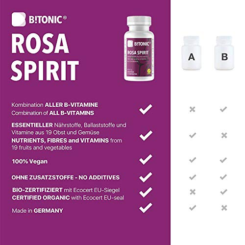 B!TONIC Rosa Spirit l Vitamin B-Komplex l für einen gesunden Geist l 60 Kapseln