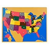 Montessori USA Wooden Puzzle Map with Labeled and Unlabeled Control Maps