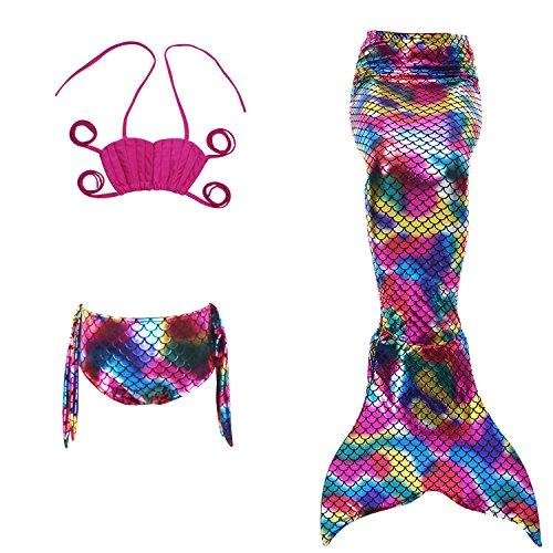 Le SSara Mädchen-Meer-Mädchen Cosplay Badebekleidung Meerjungfrau Shell Badeanzug 3pcs Bikini-Sets (120, H rot+magische farbe)