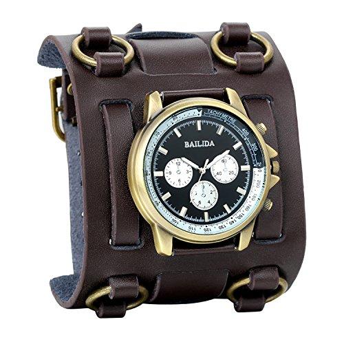 Avaner Herren Retro Hip-Hop Braun 74mm Breite Leder Manschette Armband Sport Armbanduhr (Hiphop Armbänder Männer)