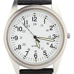 Orkina Silver Case White Dial Quartz Nylon Fabric Strap Fashion Wrist Watch P104SW