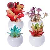 4 UNIDS Plantas y Flores Artificiales en Macetas Envase para la Decoración Casera En El Interior Al Aire Libre En Maceta Pequeñas Plantas de Suculentas Falsas Arreglos para la Decoración