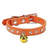 Hmeng Hundehalsband, Hunde Katze Welpen Wasserdicht Exquisite Halsband Halsbänder Einfarbig Strass Verstellbar Leder Kragen Mit Kleiner Glocke Halskette für Haustier Hunden Katzen (S, Orange)