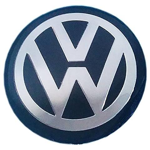 VW Badge autocollant Bouchon de Centre de roue Alliage Cercle Argent Noir en Verre Résine époxy Lot de 4* * * * * * * * * * * * * * * * 64mm