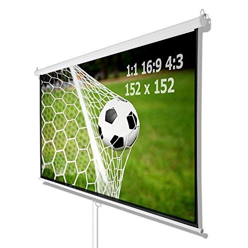 Preisvergleich Produktbild BEAMER PROJEKTOR HEIMKINO ROLLO LEINWAND HDTV 152x152 CM FÜR 1:1 4:3 16:9