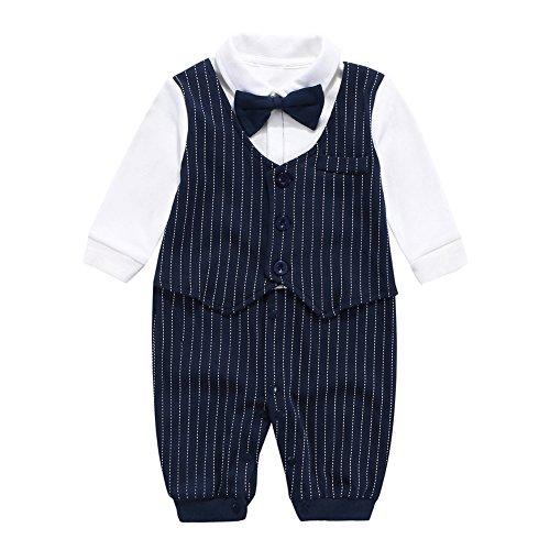 Fairy Baby Baby Outfits Langarm Strampler Jungen Smoking Baby Baumwolle Gentleman Outfit Bowknot Weihnachts/Taufstrampler Kleidung, 6-9 Monate, Navy Blau Streifen (Navy Anzug Jungen)