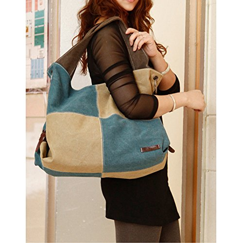 Q.KIM Multicolor Multifunzionale Borse Donna Vintage Tela Borsa Tela Delle Signore Borsetta Messenger Bag,Stile E,Rosso Stile E,Blu