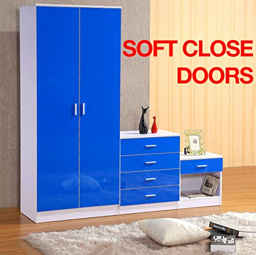 Gladini High Gloss 3 Piece Bedroom Furniture Set - Includes Wardrobe, 4 Drawer Chest, Bedside Cabinet (Blue/White)