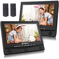 Pumpkin Double Ecrans d'Appuie-tête Lecteur DVD Portable Voiture 10,1 Pouce pour Enfant (Deux Lecteurs DVD) Autonomie de 5 Heures supporte USB SD MMC avec Sangles de Fixation