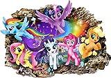 Interpaw Mein kleines Pony My Little Pony 3D Cartoon Smashed Wandaufkleber für Schlafzimmer Jungen und Mädchen Wandbild Aufkleber Größe groß 80 cm x 57 cm