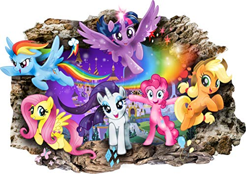 s Pony My Little Pony 3D Cartoon Smashed Wandaufkleber für Schlafzimmer Jungen und Mädchen Wandbild Aufkleber Größe groß 80 cm x 57 cm ()