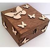 Personalised Wooden Keepsake Jewellery Memory Box Flying Butterflies Gift Love Mum Nan Sister Daughter Friend Gift Christmas Valentines Birthday Gift