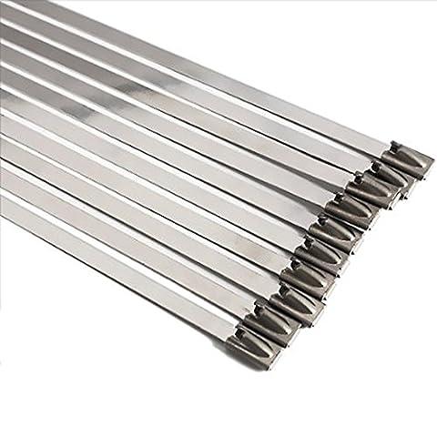 SS304 et SS3016 Lot de 10serre-câbles en acier inoxydable Ultra résistants Extra longs et extra larges, argent
