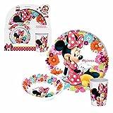 Minnie Maus - Kinder Set Frühstück Geschirr 3teilig Mouse Melamin