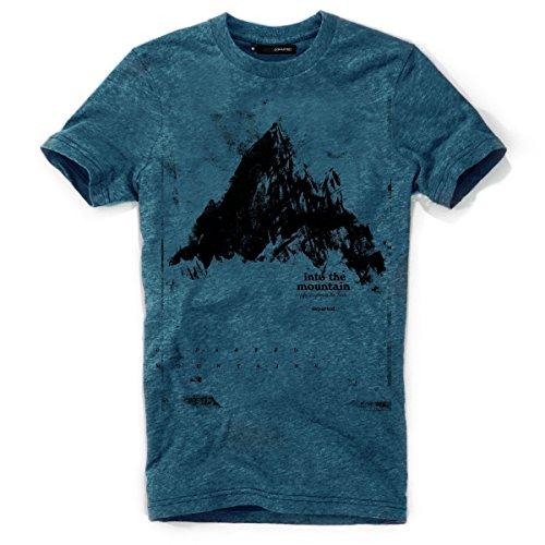 DEPARTED Herren T-Shirt mit Print/Motiv 3855-270 - New fit Größe XL, Pacific Breeze Teal Melange -
