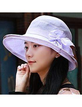 La mujer del sombrero fino de verano hilados de nieve tapa medio dama viejo pescador hat sombrilla hat 55cm-58cm...