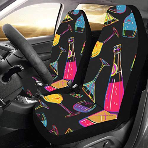 Reopx Weinflasche Dringking Benutzerdefinierte Neue Universal Fit Auto Drive Autositzbezüge Schutz Für Frauen Automobil Jeep LKW SUV Fahrzeug Full Set Zubehör Für Erwachsene Baby (Set Von 2 Vorne)