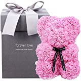 Amycute Flower Bear with Gift Box, Artificial Preserved Flower Bear Creative Gift for Birthday, Valentine 's Day, Anniversary