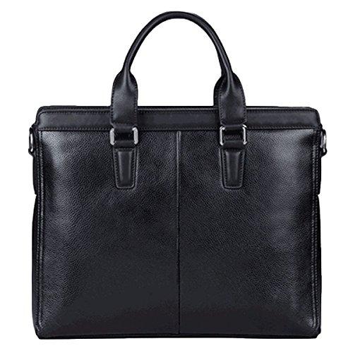 Männer Leder Handtasche Computer Tasche Messenger Bag Schultertasche Casual Fashion Wild Black