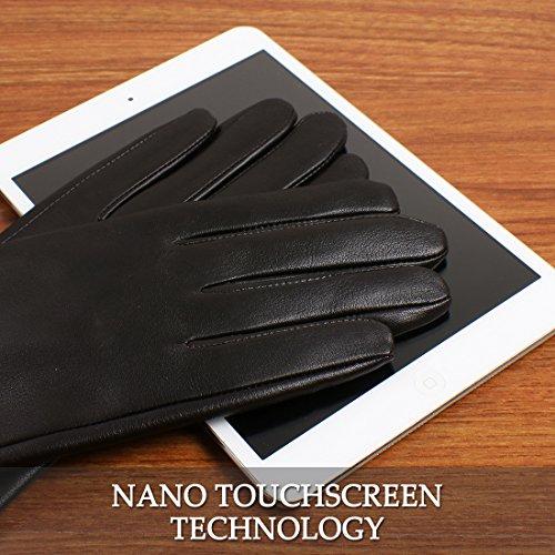 nappaglo women's l'hiver des gants en cuir véritable nappa ruched à écran tactile coude partie mitaines en cuir brun foncé (tactile)