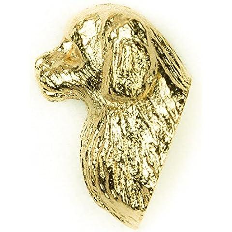 Spaniel del Tibet Hecho en Reino Unido Artístico Perro Pin Insignia Colección (bañoda en oro de 22 quilates)