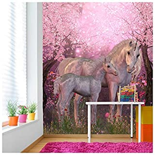 azutura Fairytale Unicorn Wall Mural Pink Cherry Blossom Photo Wallpaper Girls Decor available in 8 Sizes Gigantic Digital