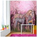 azutura Märchen-Einhorn Fototapete Rosa Kirschblüte Tapete Mädchen Dekor Erhältlich in 8 Größen Groß Digital