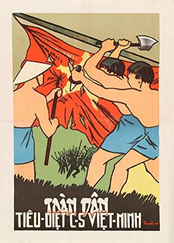 Vintage Süd Vietnam Anti-Kommunistischen Propaganda PEOPLE Sie versuchen, die Kommunistischen und VIET MINH c1950 Füße 250gsm ART CARD Gloss A3 Reproduktion Poster TO DESTROY