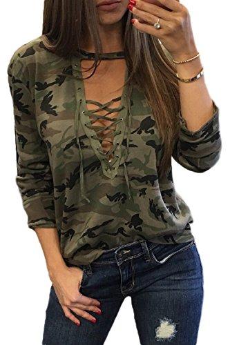 Les Femmes Sexy Faible Ces Lacets Ajustée Le T - Shirt Camouflage Maxi.