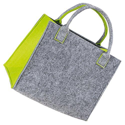 LaFiore24 Hochwertige Filztasche Einkaufstasche Damen Shopper Handtasche Henkeltasche Festivalbag hell grau-grün -