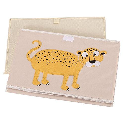 vuhom juguete pecho cajas de almacenamiento plegable caja de cubo, cubos de tejido caja de juguete y de almacenamiento para niños lavandería de juguete (1pequeño + 1grande) amarillo Yellow Leopard