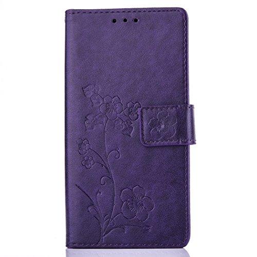 Meet de brun pour Apple iphone 6 /iphone 6S Case, Folio pour Apple iphone 6 /iphone 6S PU Housse, (Cinq feuilles et des fleurs) gaufré Wallet / flip étui / Pouch / Case / Holster / Wallet / Case en cu pourpre