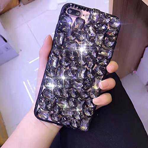 iPhone 7/8 Plus Coque de Luxe,iPhone 7/8 Plus Case Shockproof,Hpory Beau élégant Luxury Cristal Clair Bling Diamant Strass Brillante Bling Ring Stand Holder Ultra Thin PC dur + TPU Gel Silicone Etui H Strass,Noir